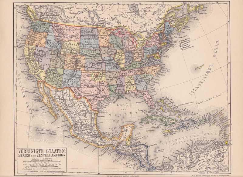 Mexiko Staaten Karte.Details Zu Amerika Usa Mexiko Kuba Karibik Bahamas Mittelamerika Landkarte 1888 Map