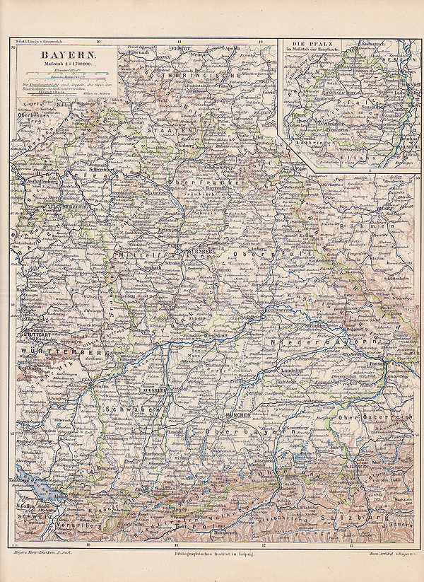 Bayern Franken Oberpfalz Oberfranken Landkarte Von 1897 Oberbayern