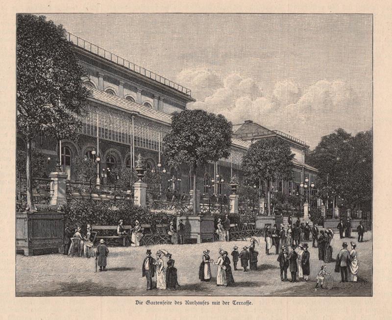 Detalles De Malo Homburg Antes De El Altura Kurhaus Terraza Grabado En Madera 1885