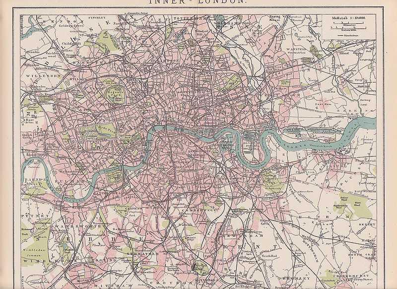 london fulham islington stadtplan um 1896 city map ebay. Black Bedroom Furniture Sets. Home Design Ideas