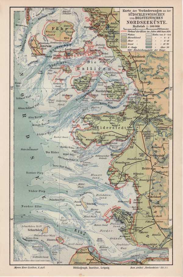 Pellworm Karte.Details Zu Nordseekuste Veranderungen Amrum Fohr Pellworm Halligen Orignal Karte Um 1908