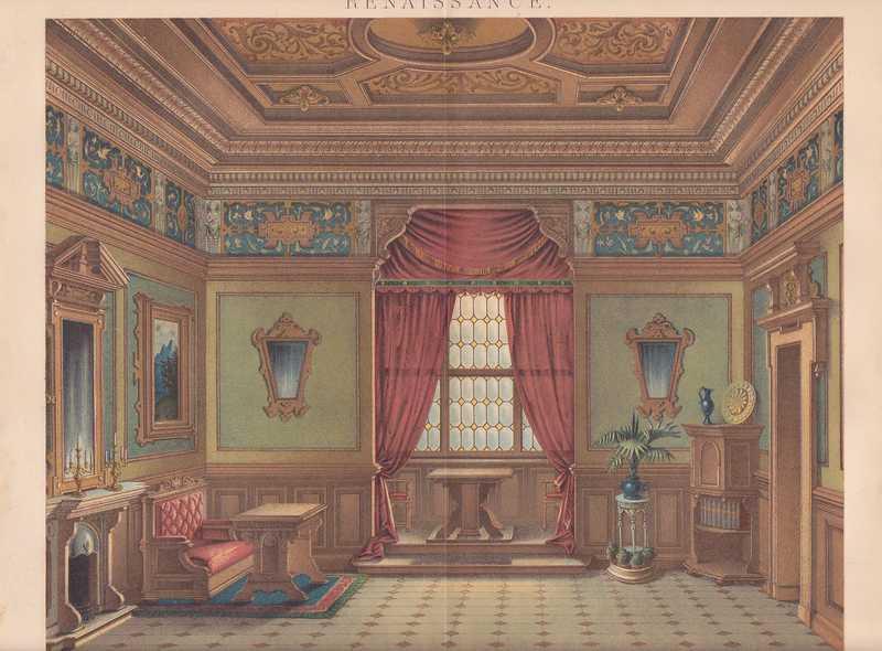 renaissance m bel mobiliar stuck lithographie von 1886 inenarchitektur ebay. Black Bedroom Furniture Sets. Home Design Ideas